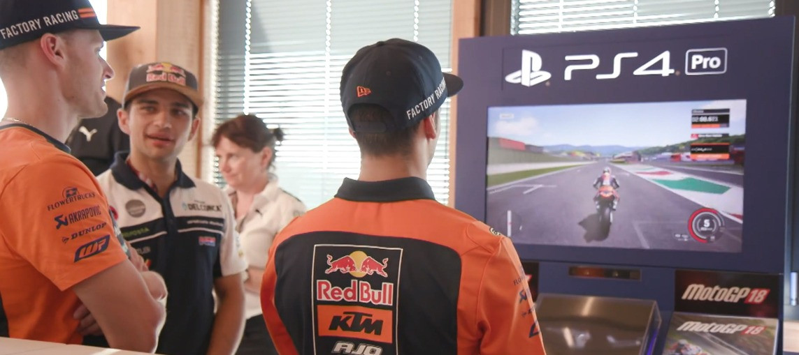 Riders race the MotoGP™18 video game at Mugello